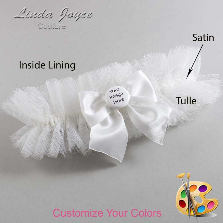 Couture Garters / Custom Wedding Garter / Customizable Wedding Garters / Personalized Wedding Garters / Custom Button #23-B01-M44 / Wedding Garters / Bridal Garter / Prom Garter / Linda Joyce Couture