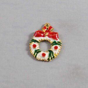 Christmas Wedding Garter / Wreath / White / Red / Green / Gold / Holiday - Charm-008 / Wedding Garters / Bridal Garter / Prom Garter / Linda Joyce Couture