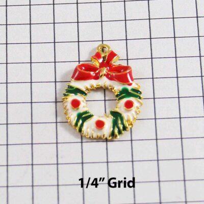 Christmas Wedding Garter / Wreath / White / Red / Green / Gold / Holiday - Charm 08 / Wedding Garters / Bridal Garter / Prom Garter / Linda Joyce Couture