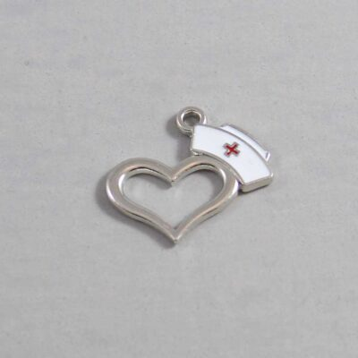 Nurse Wedding Garter / Nurse's Cap Heart / Medical - Charm 108 / Wedding Garters / Bridal Garter / Prom Garter / Linda Joyce Couture