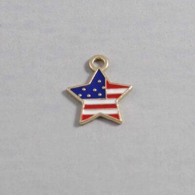 US Flag / Star / 4th of July Wedding Garter / Independence Day / United States - Charm 219 / Wedding Garters / Bridal Garter / Prom Garter / Linda Joyce Couture