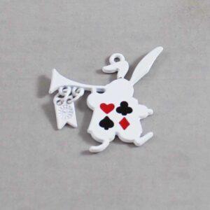 Alice in Wonderland Wedding Garter / White Rabbit / Playing Card Suits / Fairy Tale - Charm-283 / Wedding Garters / Bridal Garter / Prom Garter / Linda Joyce Couture