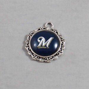 Milwaukee Brewers Wedding Garter / MLB / Baseball - Charm-562 / Wedding Garters / Bridal Garter / Prom Garter / Linda Joyce Couture