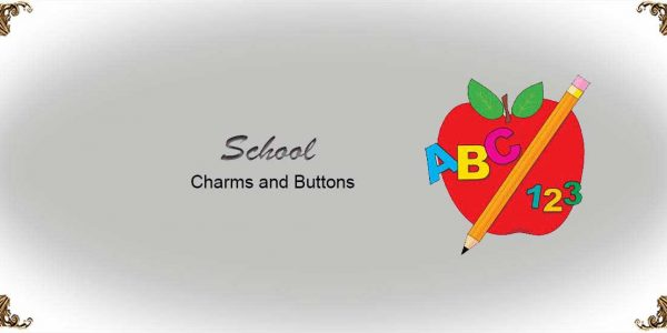 School Charms and Buttons